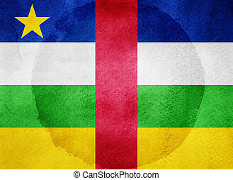 Watercolor flag on background. Central African Republic