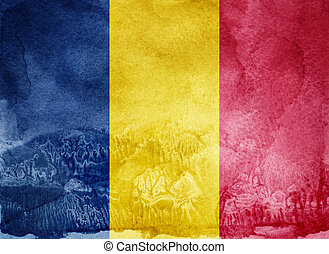 Watercolor flag on background. Chad; Romania