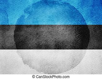 Watercolor flag on background. Estonia
