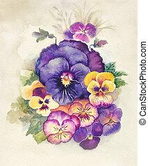 Watercolor Flora Collection: Viola Tricolor decoration, bouquet of flower