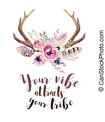 Watercolor floral boho antler print. western bohemian decoration. Hand drawn vintage deer horns with flowers, leaves and herbs. Eco style hipster illustration on white.
