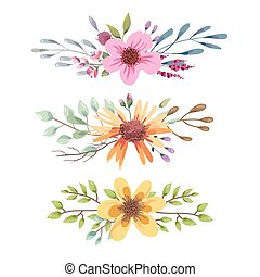 Watercolor floral bouquet with leaves and flowers. Wedding, romantic collection.