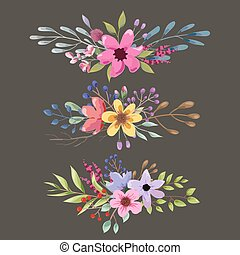 Watercolor floral bouquet with leaves and flowers. Romantic collection.