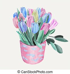 Watercolor Floral Bouquet with tulips illustration