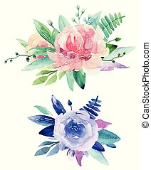 Watercolor floral bouquets clip art. Pink and purple flowers clipart