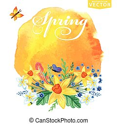 Watercolor floral bouquet,stein.Spring card - Watercolor...