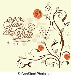 """Watercolor floral  card  with message """"Save the Date"""""""