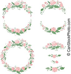 Watercolor floral frames, wreath, dividers. Vector...