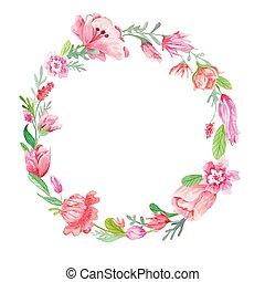 watercolor, floral krans