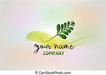 Watercolor floral leaf design logo