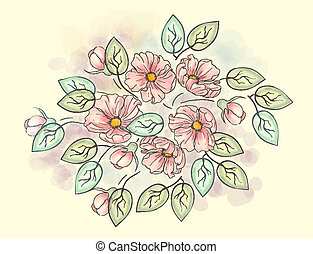 Watercolor floral ornament