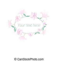 Watercolor floral oval frame pastel color
