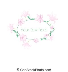 Watercolor floral oval frame pastel color