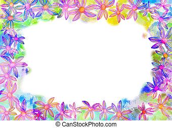 Watercolor Floral Page Border