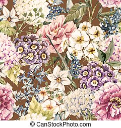 Watercolor floral pattern - Beautiful vector image with nice...