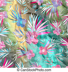 watercolor floral pattern - watercolor bright floral pattern...