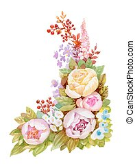 Watercolor floral pattern with pink flowers on white background.