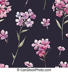 Beautiful vector seamless pattern with watercolor hand drawn phlox flowers