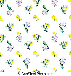 Watercolor floral seamless pattern. Vector illustration