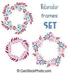 watercolor, floral, set, lijstjes