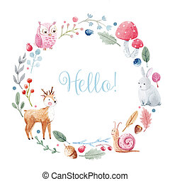 Watercolor floral wreath - Beautiful watercolor hand drawn ...