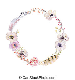 Watercolor floral wreath. Watercolour natural frame: leaves, fea