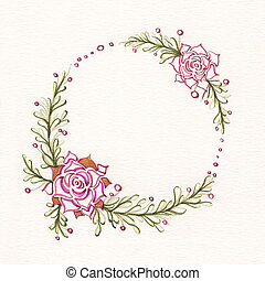 Watercolor floral wreath with succulents, green leaves and...