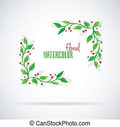 Watercolor florals - Vector illustration of Watercolor...