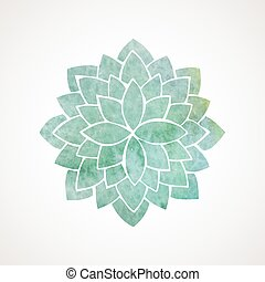 Watercolor flower in green blue colors