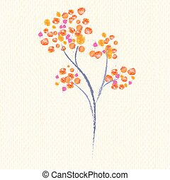 Watercolor flower on old paper, vector illustration