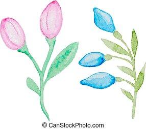 Watercolor flowering branch