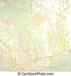 Watercolor Flowers Art Background - Grunge Pastel Flower Art...