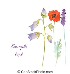 Watercolor flowers card.