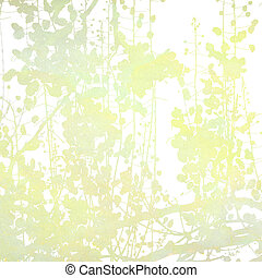 Watercolor Flowers in Grey Art Background - Watercolor...