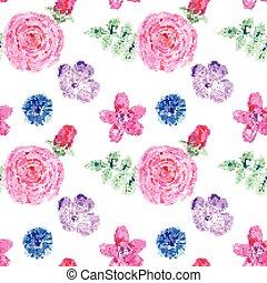 Watercolor flowers in vintage style