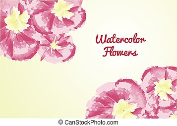Watercolor flowers on a bright yellow background