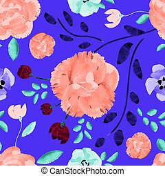 Watercolor flowers seamless pattern in trendy 2020 bold colors on a beautiful bright violet background.
