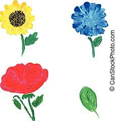 Watercolor flowers. Vector
