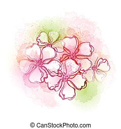 Watercolor flowers. Vector illustra