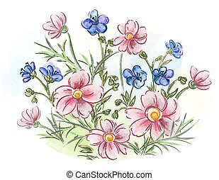 Watercolor flowers violets and pansy and leaves on meadow - ...