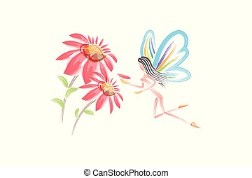 Watercolor flowers with a fairy girl butterfly