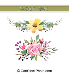 Watercolor flowers with foliage and branch.Vector...