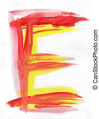 Watercolor Font illustration LETTER E