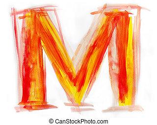 Watercolor Font illustration LETTER M - Font watercolor...