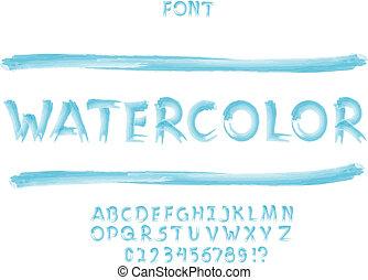 Watercolor font. Vector alphabet