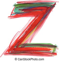 Font watercolor vector illustration uppercase LETTER Z