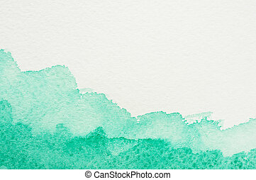 Watercolor frame - Frame from green watercolor stains on...