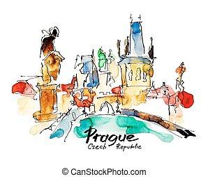 watercolor freehand sketch drawing of Prague Czech Republic top