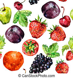 watercolor, fruit, seamless, textuur