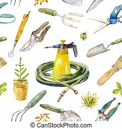 Watercolor garden instruments. Seamless pattern on white backgro
